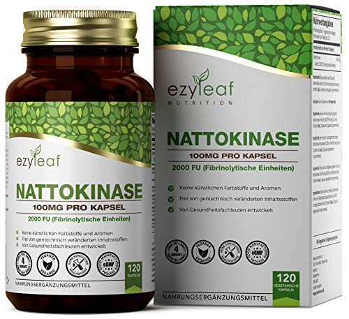 Ezyleaf Nattokinase 100mg | 120 Vegetarier Kapseln | Natto-Extrakt aus Fermentierten Sojabohnen | Ohne GVO, Gluten & Milch | Hergestellt ISO-zertifizierten Betrieben in GB