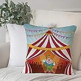 Funda De Cojine Funda de Almohada,Decoración de circo, payaso de dibujos animados en carpa de circo disfraz alegre divertido,Fundas de Cojín con Cremallera - Fundas de Almohada para Sofá y Cama45x45cm