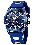 Relojes Hombre Relojes de Pulsera Cronógrafo Impermeable Negro Deportes Diseño Cara Grande Luminoso Reloj Azul Moda Fecha de Goma Analógica de Cuarzo