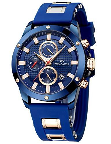 MEGALITH Herrenuhr Blau Chronographen Herren Armbanduhr Groß Sportlich Wasserdicht Uhren fur Männer Analog Gummi Uhr Designer Modisch Leuchtende Datum