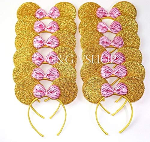 Mickey Minnie Headband 12 pcs Mickey Minnie Mouse Ears Pink Gold Sequins Bow Headband for Boys and Girls Birthday Party Celebrations