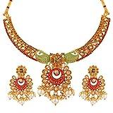 Efulgenz Bollywood - Juego de collar y pendientes de esmalte (14 quilates, chapado en oro de 14 quilates)