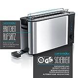 Arendo – Automatik Toaster Langschlitz | mit Defrost Funktion | Wärmeisolierendes Doppelwandgehäuse | Automatische Brotzentrierung | Brötchenaufsatz | herausziehbare Krümelschublade |GS-zertifiziert - 2