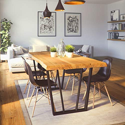 Krok Wood Esstisch Lisbon aus Massivholz in Buche mit Metallbeine (Metallbeine mit Leiste, 160 x 100 x 75)