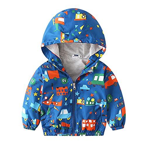 Toddler Boys Spring Autumn Fashion Cute Star Dinosaur Print Hood Zipper Windproof Jacket 1-5 Years