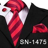 IG Cravate à la mode Business Classic Bleu Noir Rayé Cravate solide pour hommes 3.4 'Marque Cravate Poche Carré Boutons de Manchette De Mariage Cravate En Soie Ensemble,Vin rouge