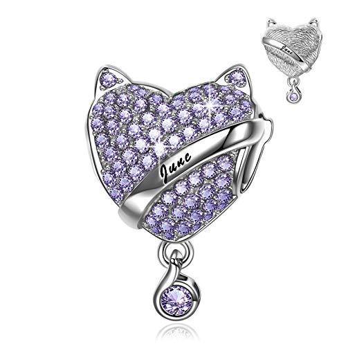 NINAQUEEN Charm Encaja con Pandora Regalos Mujer Originales Púrpura Piedra de Nacimiento Junio Alejandrita Plata de Ley 925 Zirconia Abalorios para Niñas Madre Hija Esposa de Cumpleaños