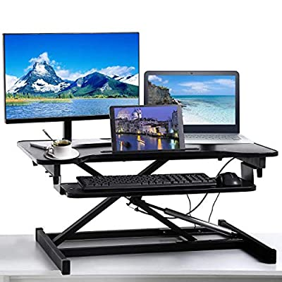 Computer Desk Height Adjustable Standing Desk Converter Meet perfect Black 32 Inch Sit Up Desk Tabletop Computer Workstation Wide Home Office Desk for Laptop or Dual Monitors Riser with Keyboard Tray