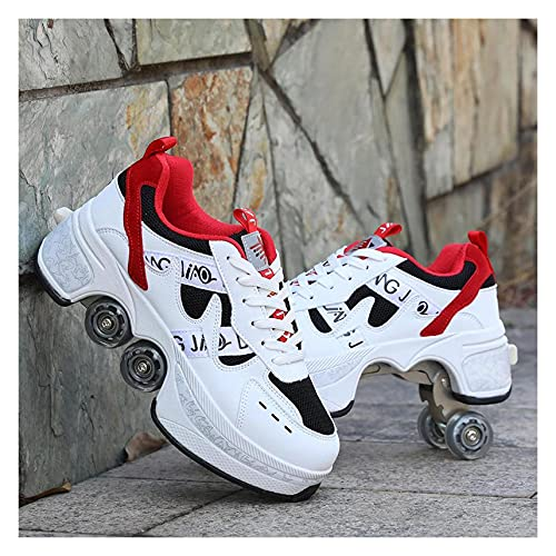 ZZX Rollschuhe Für Frauen 4 Rad Einstellbar Quad Rollschuhen, Jungen 2-in-1 Mehrzweckschuhe, Schlittschuhe Erwachsene Frauen Universal Walking Schuhe,A-35