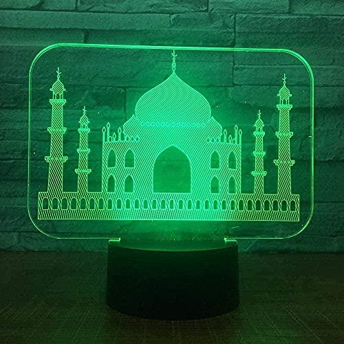 Lonfencr Lámpara de mesa con cable de alimentación USB Castillo 16 colores cambio automático LED noche luz 16 color decoración del hogar cable USB táctil remoto