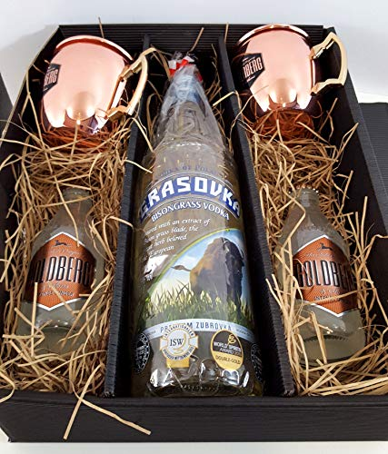 Moscow Mule Set/Geschenkset ? Grasovka Büffelgras Vodka 1L (40% Vol) + 2x Goldberg Kupferbecher + 2x Goldberg Intense Ginger 200ml - Inkl. Pfand MEHRWEG