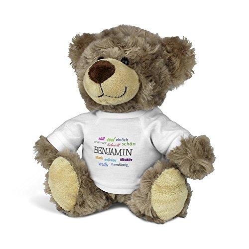 printplanet® Teddybär mit Namen Benjamin - Kuscheltier Teddy mit Design Positive Eigenschaften