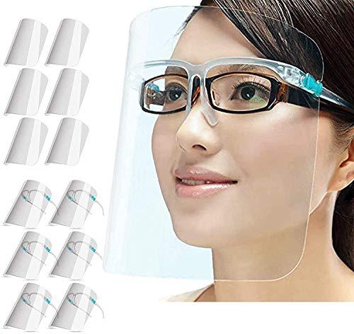 PETHREE Visiera_Protettiva con occhiali Trasparente per Adulti e Bambini, Face_Shield_Visor può essere pulita, Sostituibile e Riutilizzabile(Con 12 visiere e 6 montature per occhiali)