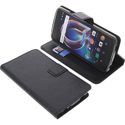 foto-kontor Tasche für Alcatel Idol 5S 6060X Book Style schwarz Schutz Hülle Buch