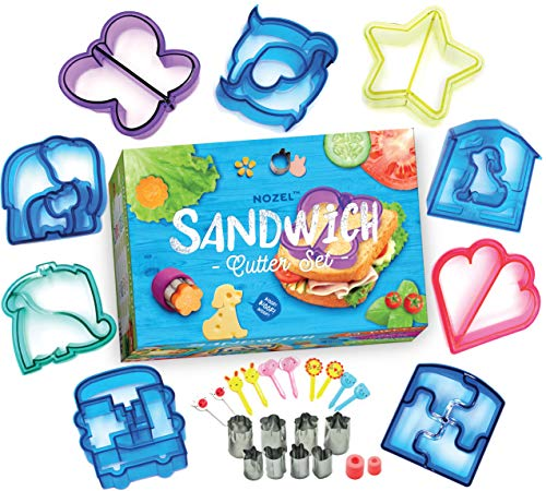 Fun Sandwich Cutters for Kids Lunch - Uncrustable Maker and Sandwich Sealer for Picky Eater - Set of 29 Bento Lunch Box Accessories - Bread Decruster for Healthy Food for Toddlers, Boys and Girls