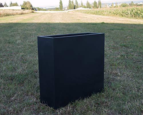 Pflanztrog Blumentrog Pflanzkübel Blumenkübel Fiberglas als Raumteiler 108x40x100cm elegant schwarz-matt.