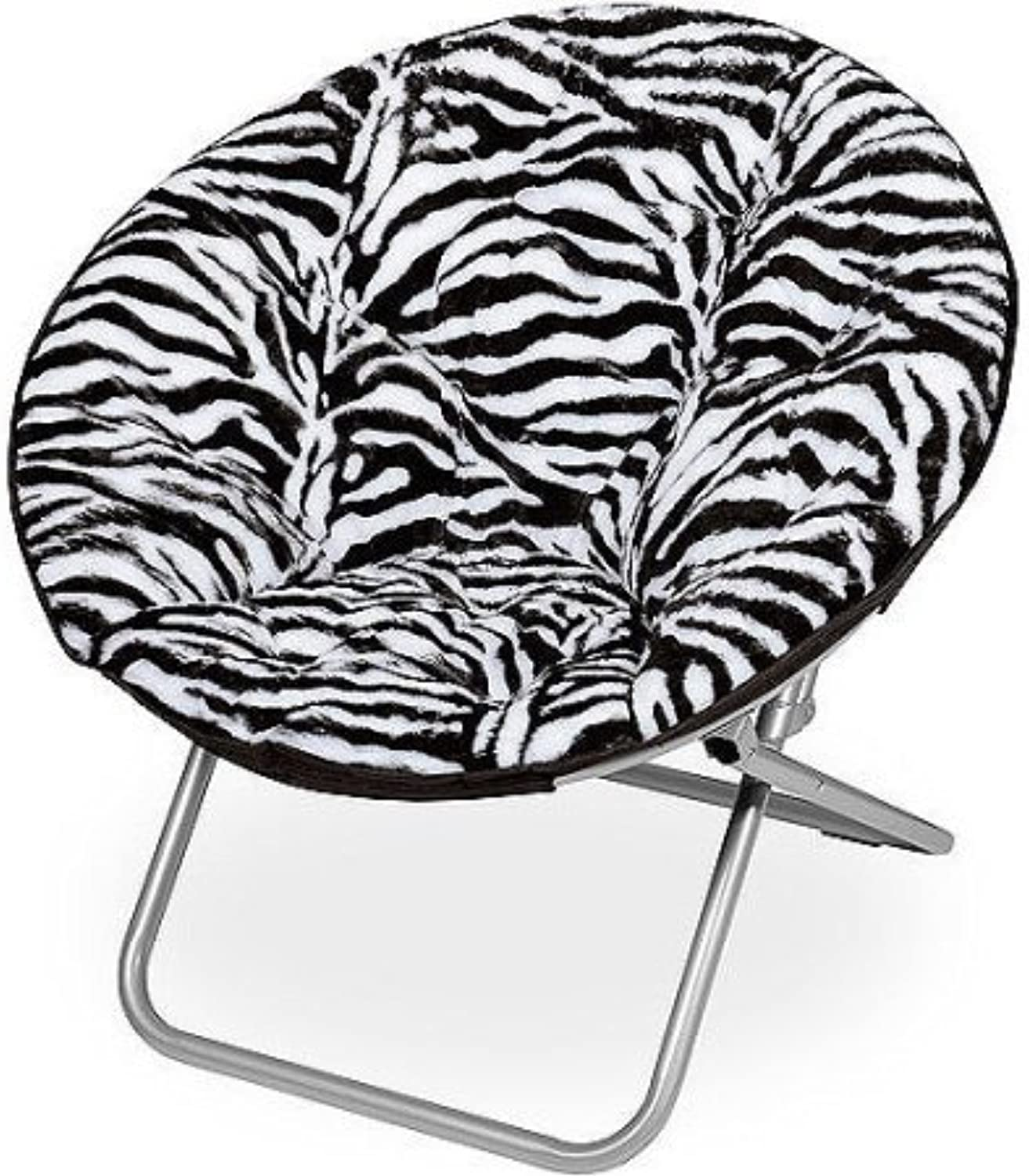 Mainstays Faux-Fur Saucer Chair with Cool faux-fur fabric, soft and wide seat, Perfect for lounging, dorms or any room in Multiple colors (Zebra)