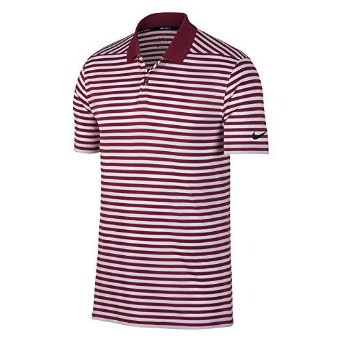 Nike Golf Poloshirt DRI FIT Victory Stripe Maroon/Weiß/Schwarz, Größe XXL