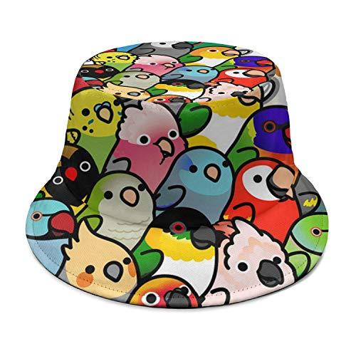 NTACZA Colorful Parrot Birds Crowd Bucket Hat Outdoor Fashion Fishing Cap for Men/Women