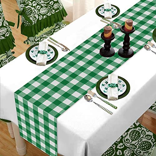 Comken St Patrick s Day Buffalo Plaid Table Runner 13 x 72 Inch Green White Plaid Check Table product image