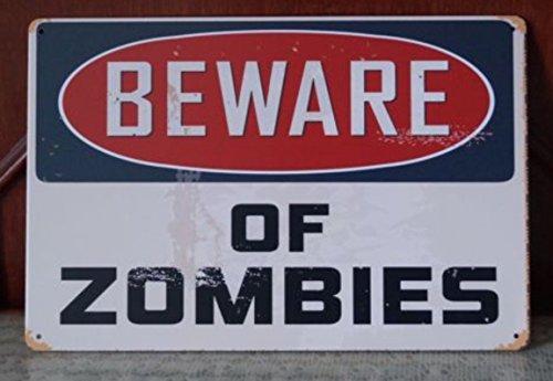 Cuidado de Zombies Walking Dead placa metálica, retro Póster para pared Home Regalo Decoración de pared 20 x 30 cm