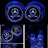 PRXD Lot de 2 Coussinets de Protection pour Voiture LED 7 Couleurs Changing USB Charging Mats Bottle Coasters Car Atmosphere (Mercedes)
