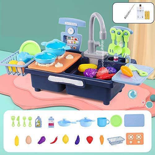 RSTJVB Jugar Accesorios De Cocina Juguete Pretend Play Playset con Agua Corriente Y Platos Platos Set Lavavajillas Eleficante De Utensilios De Cocina