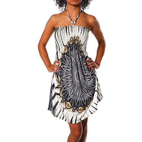 Diva-Jeans Damen Sommer Aztec Bandeau Bunt Tuch Kleid Tuchkleid Strandkleid Neckholder H112, Größen:Einheitsgröße, Farben:F-021 Schwarz
