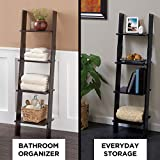 Zenna Home Ladder Style Bathroom Linen Tower, Espresso