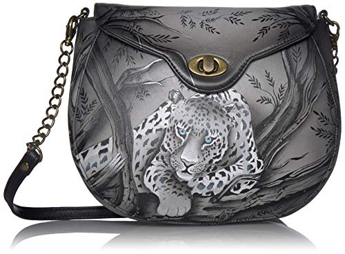 Anna by Anuschka Echtes handbemaltes Leder   Sling Flap Bag, Mehrere (Afrikanischer Leopard), Einheitsgröße