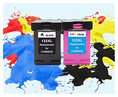 JWGD Cartucho de tinta compatible 122XL para HP 122 para HP122 para Deskjet 1000 1050 2000 2050s 3000 3050A 3052A 3054 1010 1510 2540 (color: 1 juego)