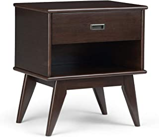 Simpli Home AXCDRP-BS-MAB Draper Solid Hardwood 24 inch Wide Mid Century Modern Bedside Nightstand Table in Medium Auburn Brown