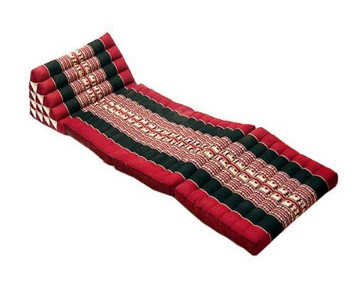 タイのゾウさん刺繍 三角アジアンクッション(三角枕)特別仕様5段タイプ・マット3本付き 黒×赤