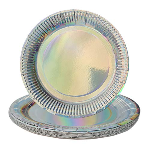 Rainbow Effect- 15 Disposable Paper Plates – Great Alternative to Heavy Dinnerware and Perfect for Parties – No After Party Clean-up – Safe & HYGIENIC