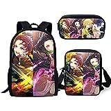 Mochila de anime con diseño de demonio con estampado 3D Kimetsu No Yaiba + bolsa cruzada+estuche de tres piezas para estudiante anime mochila escolar combinada adolescente niñas mochila casual