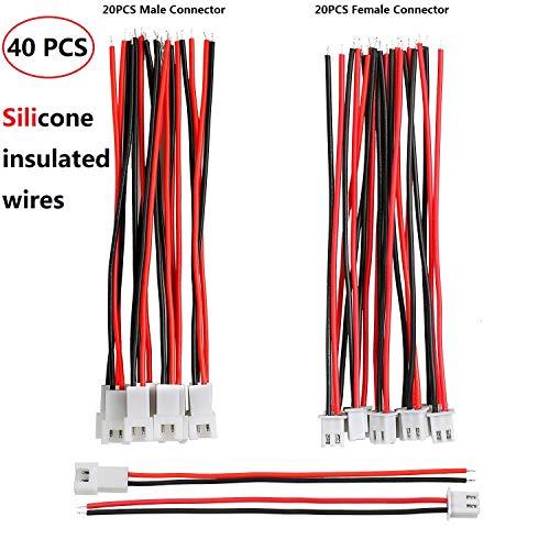 Hyber&Cara JST XH 2,54mm 2 Pin Stecker Männlich Weiblichen mit 10cm 22 AWG Elektrisches Kabel Silikon isoliert, 40 Stück