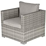 <span class='highlight'>Outsunny</span> Outdoor Patio Furniture Single <span class='highlight'>Rattan</span> <span class='highlight'>Sofa</span> Chair Padded Cushion All Weather for <span class='highlight'>Garden</span> Poolside Balcony Grey