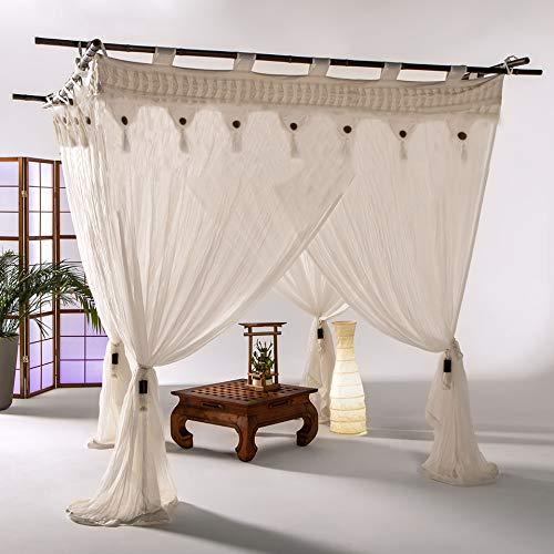 Bali4you Bali Baldachin Bali Style Coco 160x200 Moskitonetz 100% Cotton inkl. 4 Quasten Betthimmel