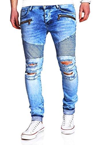 MT Styles Biker Jeans Slim Fit RJ-2078 [Hellblau, W34/L32]
