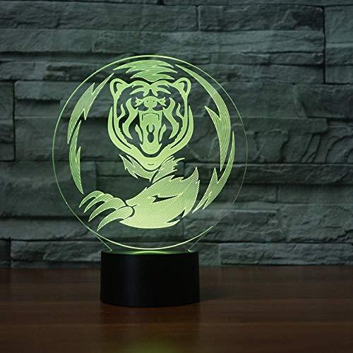 Tiger 3D Ilusión Visual Luz De Noche Acrílica Ligera Transparente
