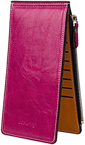 Grande Tarjeta de Crédito- Sasairy PU Cuero de las Señoras Carteras Billetera Cremallera Cartera Tarjetas Monedero Tarjetero Plegable Largo para Mujer Tarjetas-Rosa roja