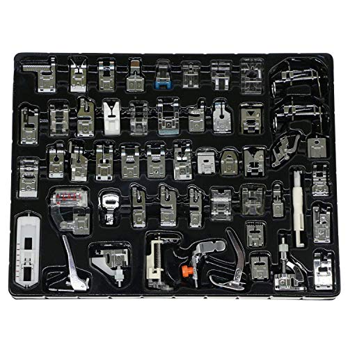 eoocvt 52pcs Domestic Sewing Machine Presser Feet Set for Brother, Babylock, Singer, Janome, Elna, Toyota, New Home, Simplicity, Necchi, Kenmore, and White Low Shank Sewing Machines