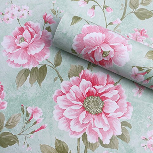 Vintage Flower Pattern Contact Paper Shelf Liner Self Adhesive Removable Floral Wallpaper for Shelves Drawer Furniture Wall Arts and Crafts 17.7x78.7 Inches