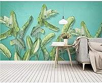 Bosakp 熱帯バナナの葉写真壁紙ロールリビングルーム寝室の家の壁の装飾風景3D熱帯雨林の葉壁画 100X50Cm