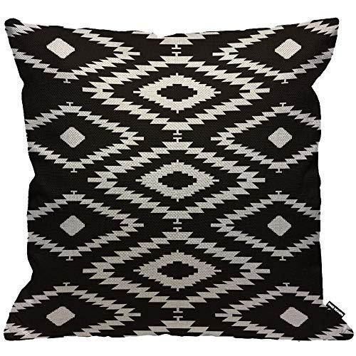 HGOD DESIGNS Kissenbezug Aztec Azteke Geometrisch Muster Schwarz Und Weiß Kissenhülle Haus Dekorativ Für Männer/Frauen/Jungen/Mädchen Wohnzimmer Schlafzimmer Sofa Stuhl Kissenbezüge 45X45cm