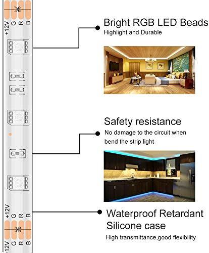 MINGER LED Strip Light Waterproof 16.4ft RGB SMD 5050 LED Rope Lighting Color Changing Full Kit with 44-keys IR Remote Controller, Power Supply Led Strip Lights for Home Kitchen Bed Room Decoration