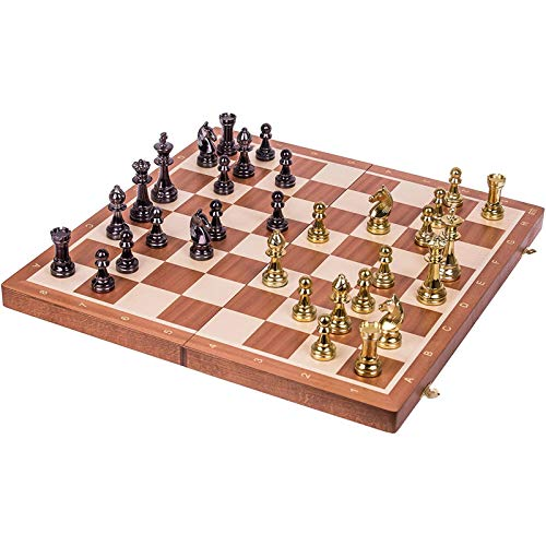 XHH Wooden Chess Gold Edition - Chessboard Mahogany Metal Chess Set Folding Board Beginner Adult Children Large Bronze Chess Puzzle Entertainment Party Game