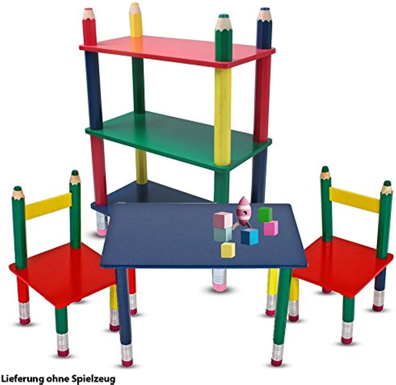 Etc-shop Kinder Mbel Set Tisch Gruppe Stühle Massiv Holz bunt lackiert Spiel Zimmer Mobiliar Stand Regal Bleistift Kindermbel