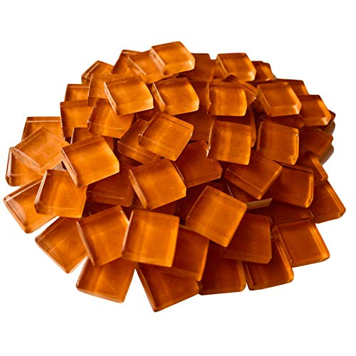Mosaic Tiles Squares Orange Crystal Mosaic Glass Tile for Crafts Bulk DIY Picture Frames Handmade Jewelry Coasters Art Material Decoration,1x1cm,100 Pieces