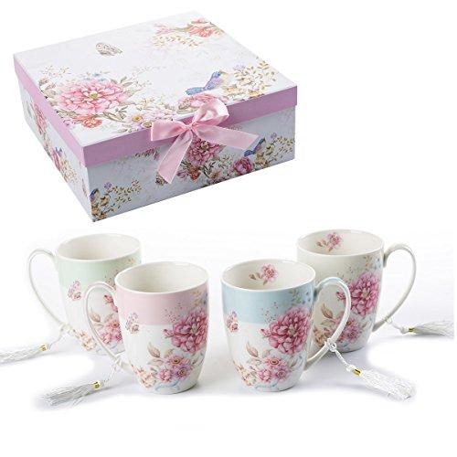 Juego de 4 tazas de café de cerámica con diseño de mariposas, en ca